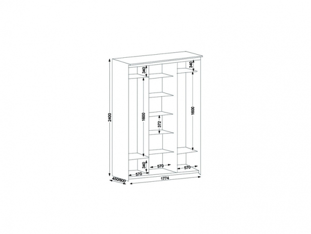 Схема шкаф-купе Эконом 3х дверный с 1 зеркальной дверью 1774