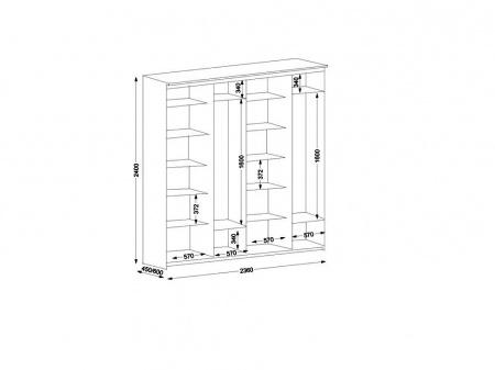Шкаф купе 4-х дверный Эконом ширина 236