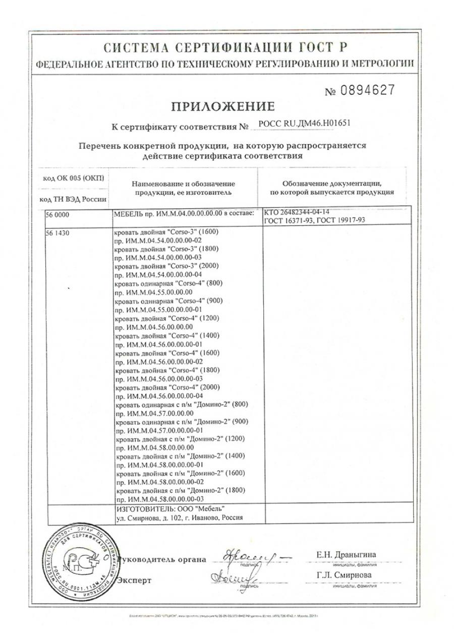Сертификат Визио, Домино, Неро, Сезия